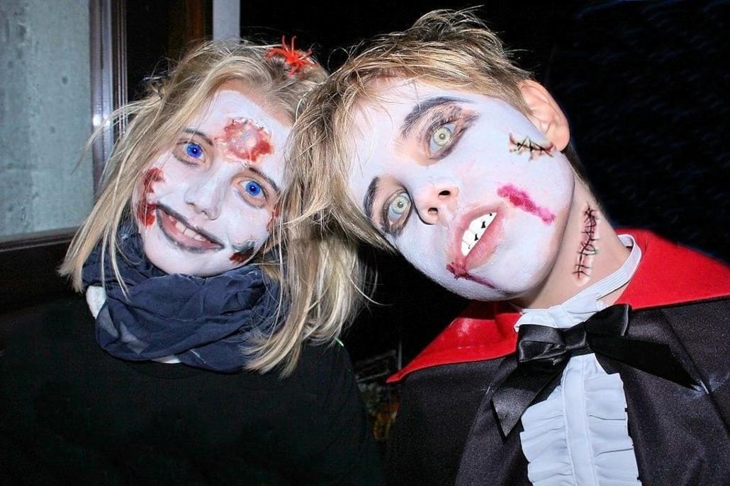 Maquillaje de zombi para niños en Halloween
